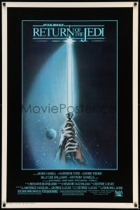 6s1194 RETURN OF THE JEDI 1sh 1983 George Lucas, art of hands holding lightsaber by Tim Reamer!