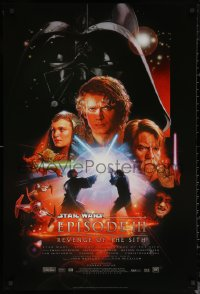 6s1198 REVENGE OF THE SITH style B DS 1sh 2005 Star Wars Episode III, cool art by Drew Struzan!