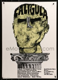 6s0221 CALIGULA 20x28 Swiss stage poster 1970 Albert Camus, his head on a Roman column!