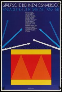 6s0224 EINLADUNG ZUR SPIELZEIT 1987-88 22x33 German stage poster 1987 art of a drum by Per Arnoldi!