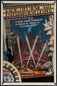 6s0235 NEW YORK SUMMER 25x38 stage poster 1979 wonderful Byrd art of Radio City Music Hall!