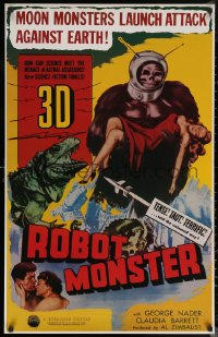 6s0014 ROBOT MONSTER tv poster R1981 3-D, the worst movie ever, great wacky art!