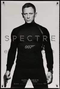 6s1220 SPECTRE teaser DS 1sh 2015 cool image of Daniel Craig in black as James Bond 007 with gun!