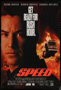 6s1221 SPEED advance 1sh 1994 huge close up of Keanu Reeves & bus driving through flames!