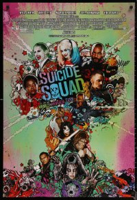 6s1240 SUICIDE SQUAD advance DS 1sh 2016 Smith, Leto as the Joker, Robbie, Kinnaman, cool art!