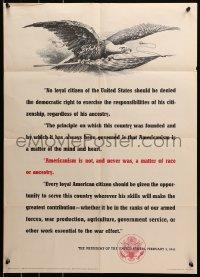 6s0205 AMERICANISM IS NOT & NEVER WAS A MATTER OF RACE OR ANCESTRY 20x28 WWII war poster 1943