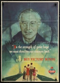 6s0207 BUY VICTORY BONDS 19x26 WWII war poster 1945 Beall art of President Franklin Roosevelt!