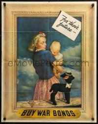 6s0208 BUY WAR BONDS 22x28 WWII war poster 1943 A.E.O. Munsell art of woman w/baby by toy lamb