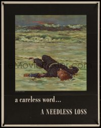 6s0209 CARELESS WORD A NEEDLESS LOSS 22x28 WWII war poster 1943 Anton Fischer art of fallen sailor!