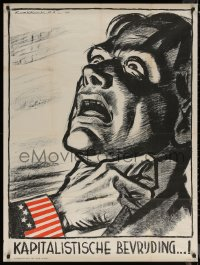 6s0211 KAPITALISTISCHE BEVRIJDING 33x44 Dutch WWII war poster 1944 KoekKoek art of man being choked!