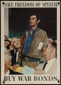 6s0215 SAVE FREEDOM OF SPEECH 20x28 WWII war poster 1943 Norman Rockwell Four Freedoms art!