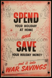 6s0216 SPEND YOUR HOLIDAY AT HOME 10x15 English WWII war poster 1945 people enjoying activities!