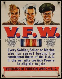 6s0217 V.F.W. 15x19 WWII war poster 1940s Veterans of Foreign Wars, Syd Cockell art!