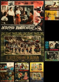 6t0973 LOT OF 16 FORMERLY FOLDED 19X27 ITALIAN PHOTOBUSTAS 1950s-1970s a variety of movie scenes!