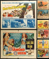 6t0997 LOT OF 12 FORMERLY FOLDED HALF-SHEETS 1950s great images from a variety of movies!
