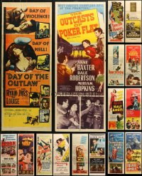6t0960 LOT OF 22 FORMERLY FOLDED INSERTS 1950s great images from a variety of different movies!