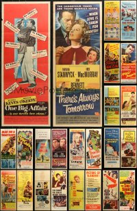 6t0954 LOT OF 28 FORMERLY FOLDED INSERTS 1950s great images from a variety of different movies!
