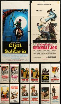 6t0948 LOT OF 14 FORMERLY FOLDED COWBOY WESTERN ITALIAN LOCANDINAS 1960s-1970s cool movie images!