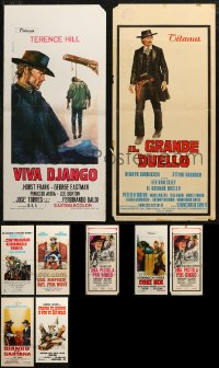 6t0950 LOT OF 11 FORMERLY FOLDED COWBOY WESTERN ITALIAN LOCANDINAS 1960s-1970s Django & more!