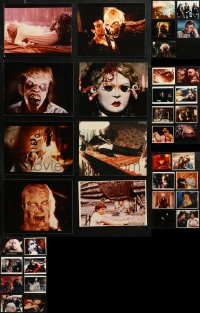 6t0821 LOT OF 37 COLOR MOSTLY HORROR 8X10 REPRO PHOTOS 1980s lots of special effects images!