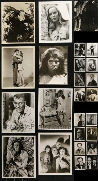 6t0825 LOT OF 33 MOSTLY HORROR 8X10 REPRO PHOTOS 1980s including many with stars in monster makeup!