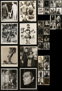 6t0822 LOT OF 36 MOSTLY HORROR 8X10 REPRO PHOTOS 1980s including many with stars in monster makeup!