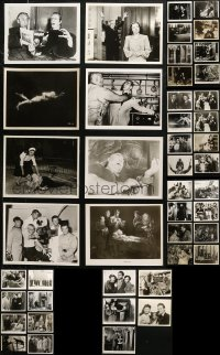 6t0818 LOT OF 45 MOSTLY HORROR 8X10 REPRO PHOTOS 1980s including many with stars in monster makeup!