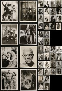 6t0812 LOT OF 69 MOSTLY HORROR 8X10 REPRO PHOTOS 1980s including many with stars in monster makeup!