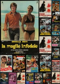 6t0965 LOT OF 37 FORMERLY FOLDED 26X38 ITALIAN PHOTOBUSTAS 1960s-1970s cool movie images!