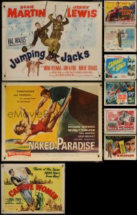 6t1000 LOT OF 9 MOSTLY FORMERLY FOLDED HALF-SHEETS 1950s great images from a variety of movies!