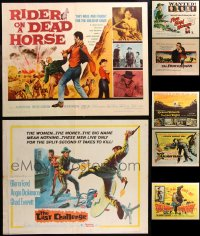 6t0998 LOT OF 11 FORMERLY FOLDED COWBOY WESTERN HALF-SHEETS 1950s-1960s cool movie images!