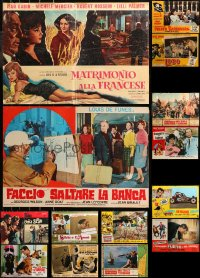 6t0974 LOT OF 14 FORMERLY FOLDED 19X27 ITALIAN PHOTOBUSTAS 1960s-1970s a variety of movie scenes!
