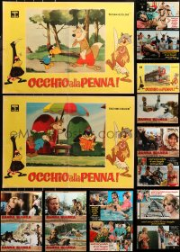 6t0972 LOT OF 18 FORMERLY FOLDED 19X27 ITALIAN PHOTOBUSTAS 1950s-1970s a variety of movie scenes!