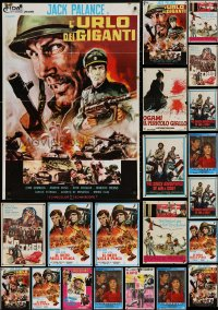 6t1058 LOT OF 23 FORMERLY FOLDED ITALIAN POSTERS 1960s-1970s a variety of cool movie images!