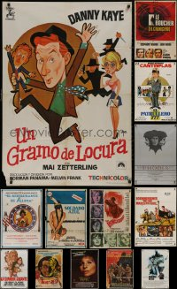 6t1033 LOT OF 15 FORMERLY FOLDED SPANISH POSTERS 1960s-1980s great images from a variety of movies!