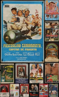 6t1031 LOT OF 18 FORMERLY FOLDED SPANISH POSTERS 1970s-1980s great images from a variety of movies!