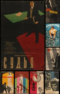6t1024 LOT OF 11 FORMERLY FOLDED RUSSIAN POSTERS 1950s-1970s great images from a variety of movies!