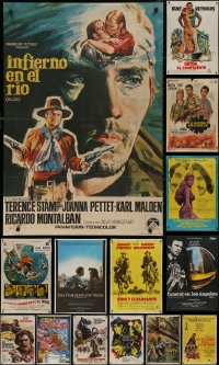 6t1034 LOT OF 14 FORMERLY FOLDED SPANISH POSTERS 1960s-1980s great images from a variety of movies!