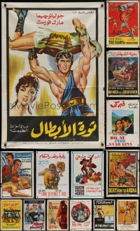 6t1038 LOT OF 16 FORMERLY FOLDED EGYPTIAN POSTERS 1960s-1970s a variety of movie images!