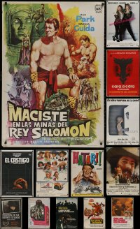 6t1032 LOT OF 16 FORMERLY FOLDED SPANISH POSTERS 1960s-1980s great images from a variety of movies!