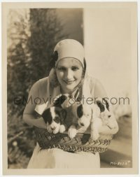 6w0161 EDWINA BOOTH 8x10.25 still 1920s the pretty silent actress holding a basket of puppies!