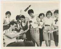 6w0175 FLIGHT FROM ASHIYA candid 8x10 still 1964 George Chakiris signs autographs for Japanese girls!