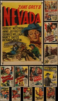 7f0217 LOT OF 13 FOLDED COWBOY WESTERN ONE-SHEETS 1940s-1950s great images from several movies!