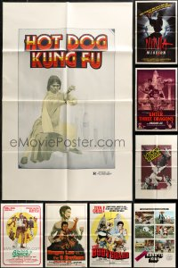 7f0224 LOT OF 12 FOLDED KUNG FU ONE-SHEETS 1970s-1980s a variety of great martial arts images!