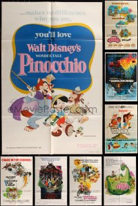 7f0229 LOT OF 10 FOLDED WALT DISNEY ONE-SHEETS 1960s-1990s from animated and live action movies!