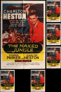 7f0238 LOT OF 6 FOLDED R60 NAKED JUNGLE ONE-SHEETS R1960 Charlton Heston & Eleanor Parker!