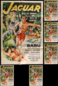 7f0239 LOT OF 6 FOLDED JAGUAR ONE-SHEETS 1955 was Sabu animal or was he human!
