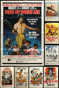 7f0222 LOT OF 12 FOLDED MOSTLY 1970S KUNG FU ONE-SHEETS 1970s cool martial arts movie images!