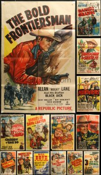 7f0216 LOT OF 14 FOLDED COWBOY WESTERN ONE-SHEETS 1940s are variety of cool movie images!