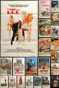 7f0154 LOT OF 63 FOLDED ONE-SHEETS 1950s-1990s great images from a variety of different movies!